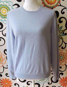 Saks Fifth Avenue Women Blue Cashmere Long Sleeve Shirt Size L #SaksFifthAvenue #Blouse