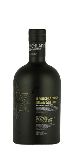 """Bruichladdich Black Art isn't just marketing spin. Sure, they play up the kitschy theme with a black, opaque bottle adorned with icons plucked from Masonic Temple conspiracy websites, but this 4th iteration of their non-peated single malt is a genuine mystery — because they won't tell you a darned thing about it. """"Black Art,"""" get it"""