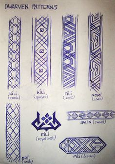Some Dwarven patterns inspired by the wonderful Hobbit artbooks… Because I need a selection of Dwarven patterns for all my Hobbit fanart. (Yeah, I currently don't have a scanner, so I have to take pictures of my sketchbook pages. Hence the shitty. Tolkien, Hobbit Art, O Hobbit, Larp, Fili Et Kili, Zentangle, Hobbit Dwarves, Dwarf Costume, Skyrim Costume