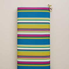 Bring indoor comfort to your outdoor space when you accessorize with our brilliantly hued Thailand Stripe Outdoor Bench Cushion. Textile Patterns, Textile Design, Print Patterns, Refurbishing Furniture, Bench Cushions, Bench Seat, Patio Ideas, Thailand, Indoor
