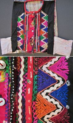 An 'iç yelek' (inner bodice) from the Karakeçeli (Yörük) villages of the Keles district (south of Bursa).  Ca. mid-20th century.  Part of the traditional bridal/festive costume.  Cotton, adorned with multicoloured cotton embroidery, zigzag-ribbons and small glass beads.  (Inv.n° yeL008 - Kavak Costume Collection - Antwerpen/Belgium).