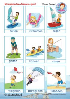 Woordkaarten over Zeeuwse sport voor kleuters, kleuteridee, thema Zeeland, free printable. Hobbies To Take Up, New Hobbies, Summer Activities For Kids, Toddler Activities, Petite Section, Hobby Lobby Christmas Trees, Learn Dutch, Dutch Language, School Sports