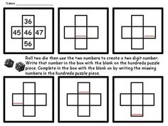 Students roll die to create a 2 or 3 digit number and work with puzzles that are pieces of a hundreds chart. The focus, is on apiece of the chart, students concentrate on where a particular number is in relation to the numbers around it. Students think about how the numbers on the chart are related, both by tens in columns and by ones in rows.