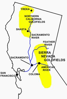 California Gold Rush Map images showing Sierra Nevada goldfields, and the Northern California goldfields.