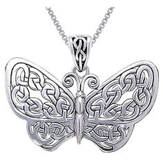 Carolina Glamour Collection Sterling Silver Celtic Butterfly Necklace