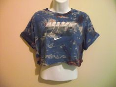 VINTAGE NIKE Crop Top T Shirt Blouse 90s Adidas Huff Trash Retro Ibiza S 6 8 10