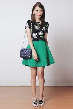 Murua Skirt, Emoda Bag, Black Five Dress Used As Top, Gold Dot Shoes