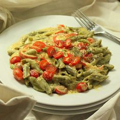 Vegan Richa: Spinach Penne with Red Bell peppers, Cherry tomatoes in Chipotle Habanero garlicky Cashew cream sauce. vegan