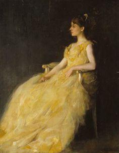 Mujer de amarillo (1888) / Thomas Wilmer Dewing
