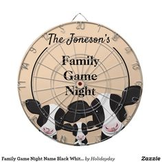 Family Game Night Name Black White Cows Dart Board Family Game Night, Family Games, White Cow, Black And White, Custom Dart Board, Pilsner Beer, Print Finishes, Cows, American Flag