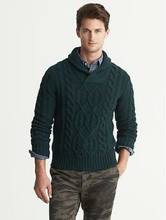 Cable-Knit Shawl-Collar Pullover