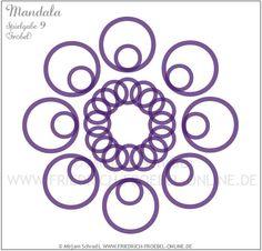 Mandala aus den Ringen der Spielgabe 9 nach Friedrich Froebel (lila Ringe-Mandala Nr. 14 von insg. 16 Mandalas) Froebel: Forms of Beauty (Schönheitsformen)