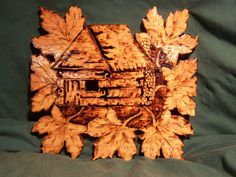Rustic Cabin with maple leaves 12x12 by MacsWoodSigns on Etsy