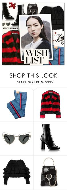 """""""#PolyPresents: Wish List IV"""" by vampirella24 ❤ liked on Polyvore featuring Gucci, McQ by Alexander McQueen, Yves Saint Laurent, Chloé and COS"""