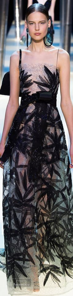 Armani Prive Spring 2015. This nude, black and silver floral patterned gown is…