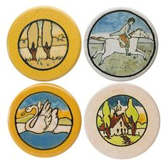 "SATURDAY EVENING GIRLS | SEG Pottery | Four circular glazed ceramic trivets, Boston, MA, 1920s All marked, two glazed-over markings 4 1/4"" dia. ea. Provenance: Collection of Penny Marshall, Los Angeles, CA"