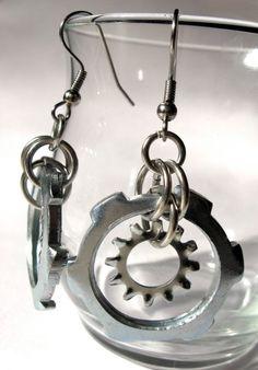 Industrial Earrings  Suspended Cogs by kieutiepie on Etsy