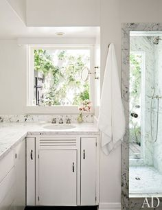 The master bath at hotelier Jeff Klein and film producer John Goldwyn's Hollywood Hills home.