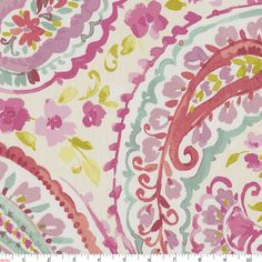 Bedding for Eden's room?  Watercolor Paisley Fabric by the Yard | Coral Fabric | Carousel Designs