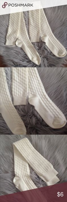 NWOT   Over the knee socks OS - New without tag. - Over the knee knit socks. - Color: Cream. - No brand. - One size.  • Free gift with every purchase and 15% off all bundles. NO trades. • Accessories Hosiery & Socks