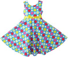 Girls Dress Colorful Dot Crystal Party Sundress Kids Clothes Size 7-14 NWT