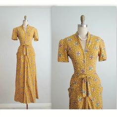 40's Dressing Gown // Vintage 1940's Vibrant Yellow Cotton House Dress Dressing Gown M by TheVintageStudio on Etsy https://www.etsy.com/listing/265122277/40s-dressing-gown-vintage-1940s-vibrant