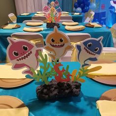 Baby Shark Birthday Party Ideas with regard to Trending - Birthday Ideas Make it 2nd Birthday Party Themes, 1st Boy Birthday, Boy Birthday Parties, Birthday Ideas, Birthday Party Centerpieces, Princess Birthday, Baby Hai, Shark Party Decorations, Party Ideas