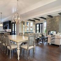 Jillian Harris - dining rooms - restoration hardware dining chairs, cane chairs, gray cane chairs, gray dining chairs, cane back chairs, can...