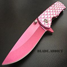 "8"" Ladies Pink HEARTS TACTICAL Combat Spring Assisted Open Pocket Knife Women -W 