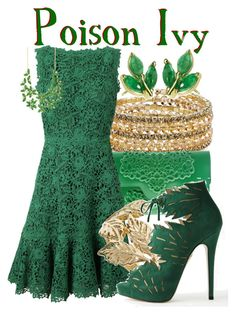 """Poison Ivy from DC Comic Villians: Gotham City"" by ginger-coloured ❤ liked on Polyvore featuring мода, 1928, MeDusa, Valentino, Reiss, Charlotte Olympia и Natasha Accessories"