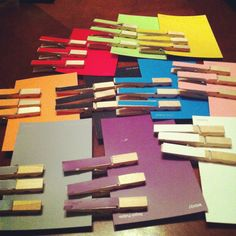 DIY 98 cent toddler color match game: paint swatches, clothes pins and glue- thanks Jude for the idea!