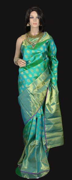 Rich Aqua Zari Kanjeevaram Saree with Gold Buttas and Long Border