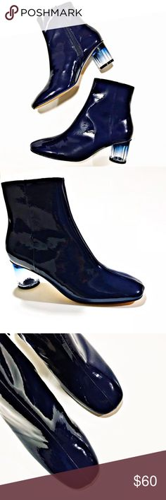 """ZARA NWOT Navy Patent Finish Ankle Boots Brand New ZARA Women's Navy Rounded Toe Patent Finish Ankle Boots. US Size 6. Features Plexiglass Heel Design. Heel Height 2"""". Trendy, Stylish & Brand New just for you! Zara Shoes Ankle Boots & Booties"""