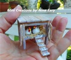 This is the little chicken coop which will be added to a new mini cottage I am working on, complete with polymer clay hens & chicken poop! ~Created by Nina Eary~ I must have this little coop! Miniature Crafts, Miniature Fairy Gardens, Miniature Houses, Miniature Dolls, Mini Fairy Garden, Fairies Garden, Clay Fairies, Fairy Furniture, Furniture Village