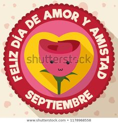 Button in flat style and long shadow with cute rose inside of a heart design to celebrate the Love and Friendship Day (written in Spanish). Cute Rose, Long Shadow, Flat Style, Burger King Logo, Fashion Flats, Spanish, Friendship, Writing, Love