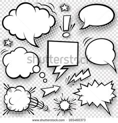 A set of comic bubbles and elements with halftone shadows. - stock vector