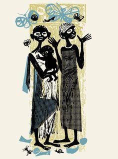Maria Keil, ilustração para Histórias de pretos e brancos, de Maria Cecília Correia
