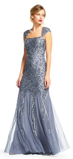 Adrianna Papell | Cap Sleeve Dress with Sequin Lined Design
