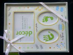 New-  Baby Keepsake  Babys First Handprint First Footprint and First Photo Frame Noahs Ark via Etsy $16