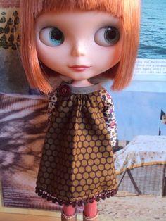 Arty Play Dress for Blythe Brown polka par moshimoshistudio