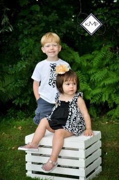 Matching Brother and Sister Outfit designer  by CeCeLuCouture, $40.00