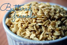 Simple starter recipe for granola - uses butter and brown (raw) sugar and then you have optional add-in's after baking. Easy for a first timer! #granola