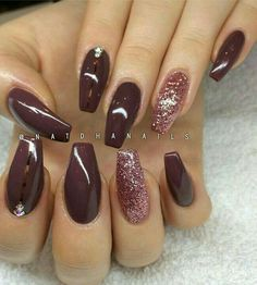Brown Nail Orange Toe Nails, Brown Nails, Red Nails, Orange Nail Designs, Pretty Nail Designs, Winter Nail Designs, Simple Nail Designs, Nail Art Designs, Neutral Gel Nails