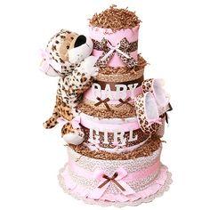 cheetah print diaper cakes | Pin Leopard Print Diaper Cake 3 Tiers Apx 75 Diapers Â« Sassy Crafts ...