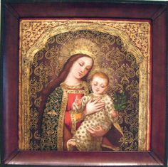 """Virgin Mary Original Oil Painting - Madona de Villarica by Mendoza Artist: Diana Mendoza  Size: 24 High x 24 Wide.   Frame Description:High quality, handmade leather frame, itself is a work of art. Gentle, contoured scoop design, corner embellishments. Frame Size: 2-1/8"""" W x 2-3/8"""" D  Hand-painted, original oil painting on canvas of the Virgin Mary. Framed and ready to hang."""
