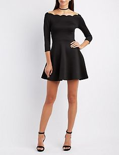 """""""Off the Shoulder Scalloped Skater dress""""  I love this neckline, I just wish skater dresses weren't so short so that I could wear them sitting in my chair."""