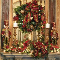 Beautiful Nutcracker Christmas Mantel!  Mikhail Nutcracker Doll from Frontgate.