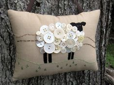 Primitive Ireland Sheep Embroidery Pillow - Original Design