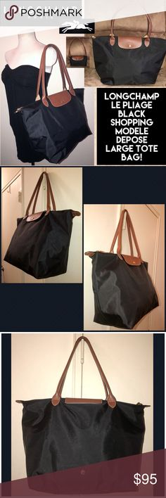 "Longchamp Le Pliage Shopping Modele DePose Tote! Longchamp Le Pliage Black Shopping Modele DePose Tote Bag! 100% authentic, blk nylon, travel / foldable design, Flap button & LONGCHAMP logo zip closure, brown leather handles, one int slip pocket, gold-tone hardware. Large size, 12"" across (bottom)/18"" (top) x 11 1/2"" high x 7.5"" wide. Some minor ext marks & corner wear which is not noticeable when used. IMPORTANT Note: Longchamp products are made in France, China & Tunisia. VG condition…"