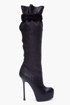 YVES SAINT LAURENT //  BLACK TRIBTOO SHEARLING TRIMMED BOOTS